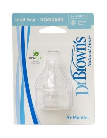 Smoczki Standard Dr Brown's do butelek z wąską szyjką (9m+) - Poziom 4 - (2szt.)