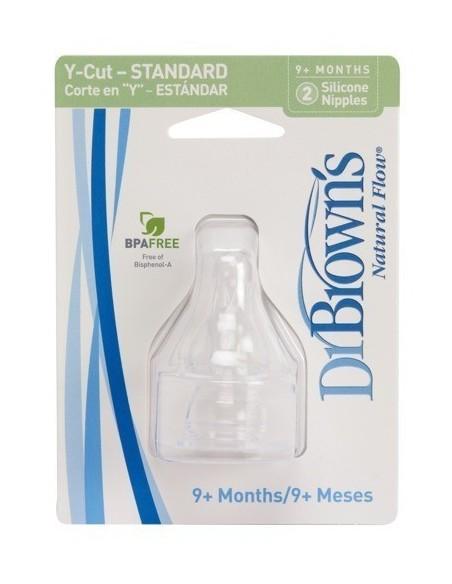 Smoczki Standard Dr Brown's do butelek z wąską szyjką - Poziom Y (kaszka i soki) - (2szt.)