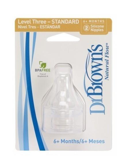 Smoczki Standard Dr Brown's do butelek z waską szyjką (6m+) - Poziom 3 - (2szt.)