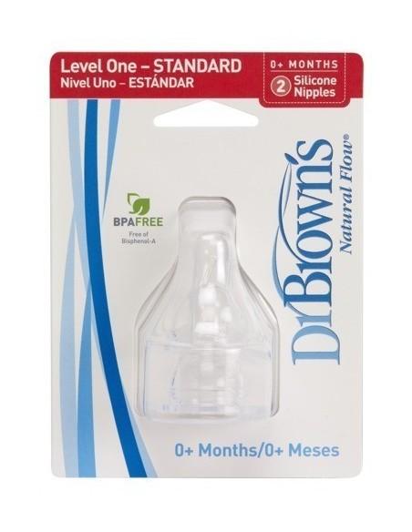 Smoczki Standard Dr Brown's do butelek z wąską szyjką (0-3m) - Poziom 1 - (2szt.)