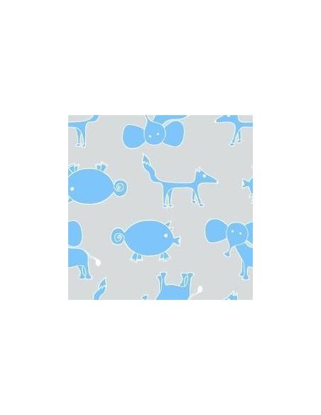 Texpol Piel. bamb. 75x75cm Animals szaro niebieski