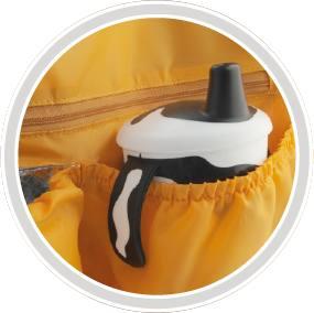 Mniejsze kieszenie z gumką pomieszczą bidony, kubki, butelki czy słoiczki